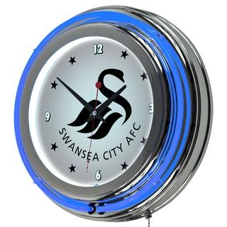 Premier League Swansea City Chrome Double Rung Neon Clock