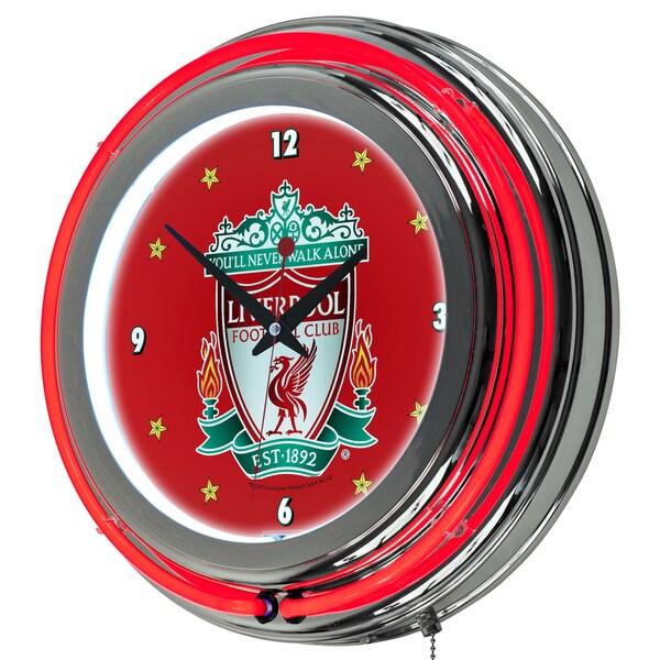 Premier League Liverpool Football Club Chrome Double Rung Neon Clock
