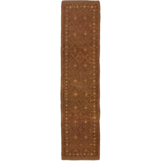 Ecarpetgallery Hand-knotted Tajik Caucasian Brown Wool Runner Rug (2'2 x 9')