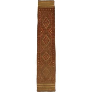 Ecarpetgallery Hand-knotted Tajik Caucasian Green Orange Wool Runner Rug (1'8 x 8'6)