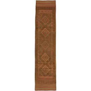 Ecarpetgallery Hand-knotted Tajik Caucasian Brown Wool Geometric Oriental Runner Rug (1'11 x 8'3)