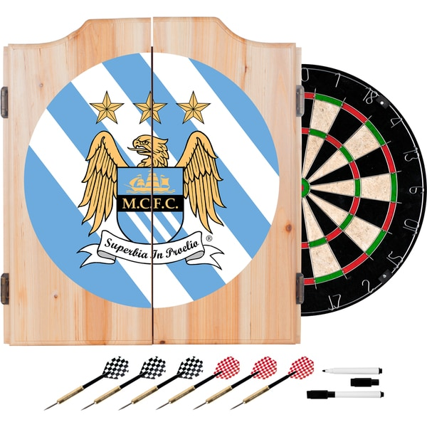 Premier League Manchester City Dart Cabinet Includes Darts and Board