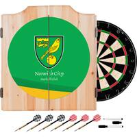 Premier League Norwich City Dart Cabinet includes Darts and Board