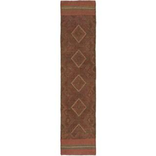 Ecarpetgallery Hand-knotted Tajik Caucasian Brown Green Wool Runner Rug (1'11 x 8'6)