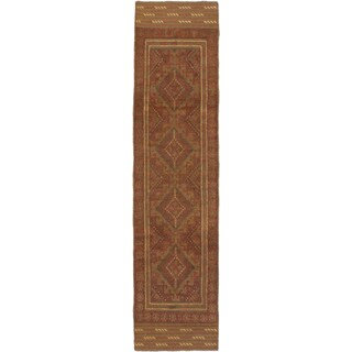 Ecarpetgallery Hand-knotted Tajik Caucasian Brown Wool Runner Rug (1'11 x 7'10)