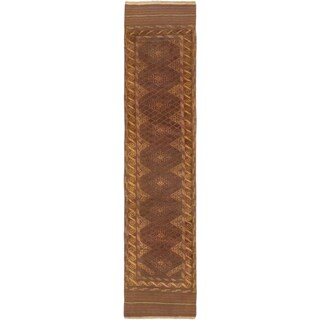 Ecarpetgallery Hand-knotted Tajik Caucasian Beige Green Wool Runner Rug (2'4 x 9'9)