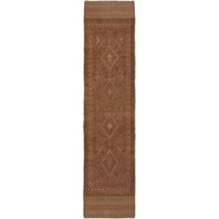Ecarpetgallery Hand-knotted Tajik Caucasian Brown Wool Casual Runner Rug (1'11 x 8'3)