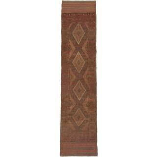 Ecarpetgallery Hand-knotted Tajik Caucasian Brown Green Wool Runner Rug (1'10 x 8')