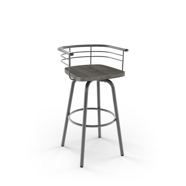 amisco brisk swivel metal barstool with distressed wood seat free shipping today