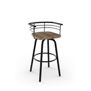 Amisco Brisk Swivel Metal Barstool With Distressed Wood Seat