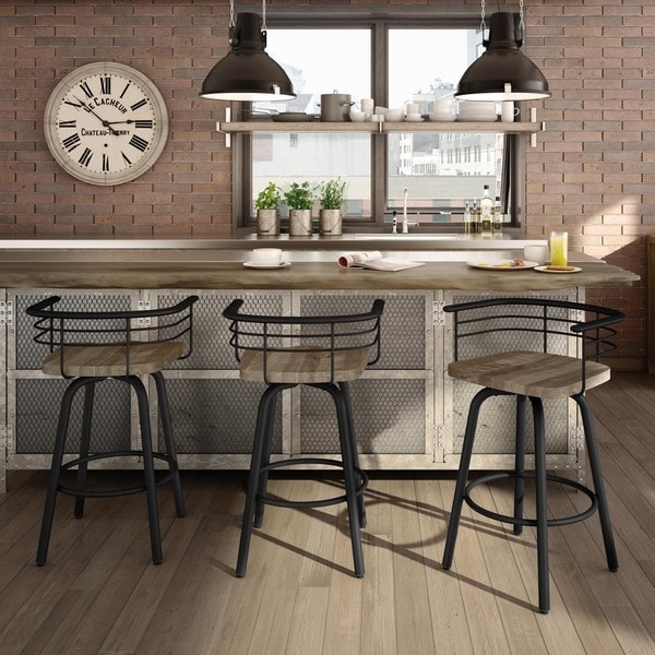 Amisco Brisk Swivel Metal Barstool With Distressed Wood