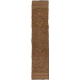Ecarpetgallery Hand-knotted Tajik Caucasian Brown Wool Geometric Runner Rug (1'11 x 8'3)