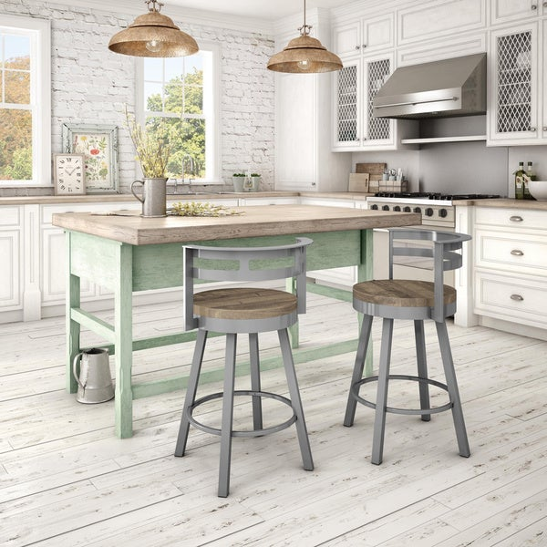 Amisco Vector Swivel Metal Barstool With Distressed Wood