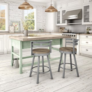 Amisco Vector Swivel Metal Barstool With Distressed Wood Seat