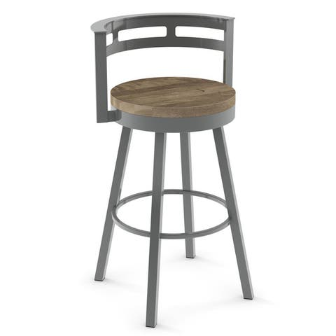 Amisco Vector Swivel Counter Stool with Distressed Wood Seat