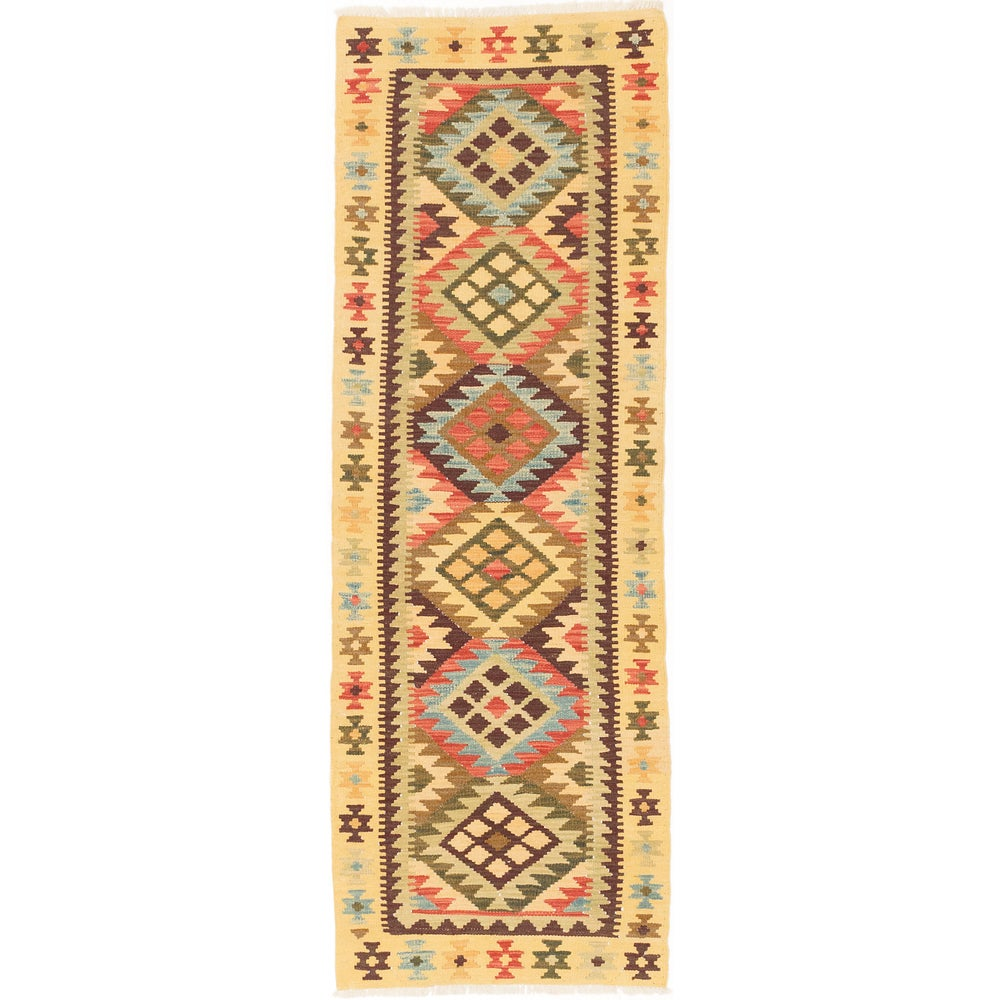 Ecarpetgallery Handmade Anatolian Kilim Red Yellow Wool Kilim Runner Rug (2'2 x 6'4)