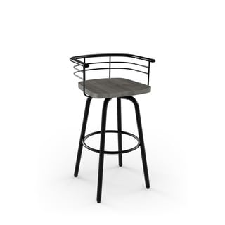 Amisco Brisk Swivel Metal Counter Stool With Distressed Wood Seat