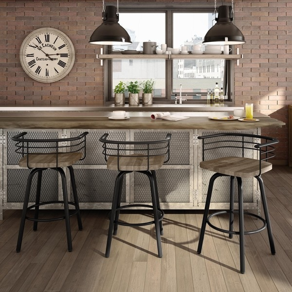 Amisco Brisk Swivel Metal Counter Stool With Distressed