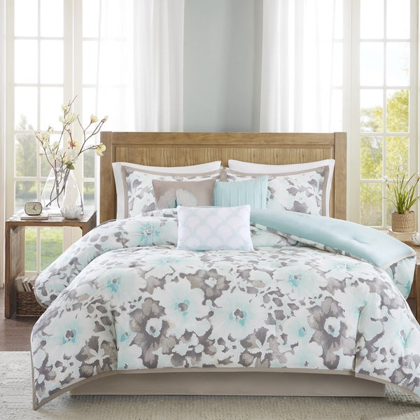 madison park aria aqua cotton sateen 7piece comforter set