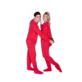 Red Cotton Jersey Knit Unisex Adult Footed Pajamas with Drop Seat