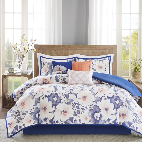 Madison Park Aria Navy Cotton Sateen 7-piece Comforter Set