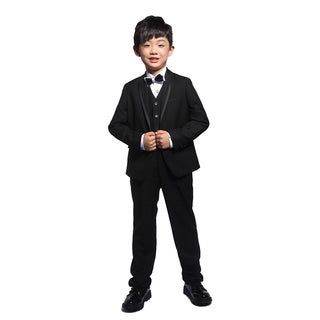 Black 3-piece Tuxedo with Satin Trim for Kids 4 - 14 years