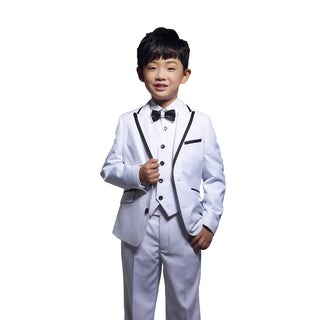 White 3-piece Tuxedo with Black Trim for Kids 4 - 14 Years