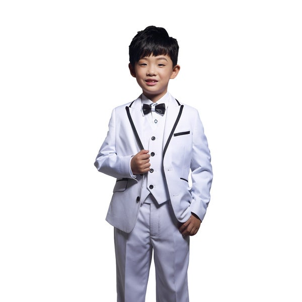 Shop White 3 Piece Tuxedo With Black Trim For Kids 4 14 Years