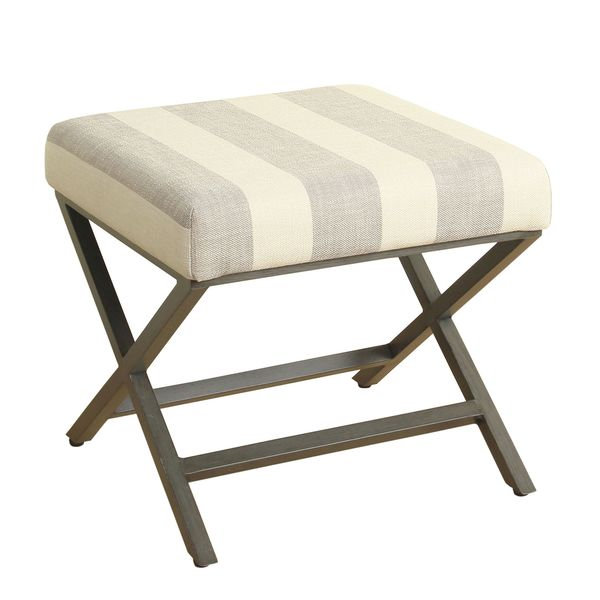 HomePop Upholstered Grey and Cream Striped Ottoman with Bronze Metal Finish