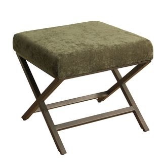 HomePop Upholstered Ottoman with Ivy Plush Velvet and Bronze Metal Finish