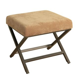 HomePop Upholstered Ottoman with Bronze Plush Velvet and Bronze Metal Finish