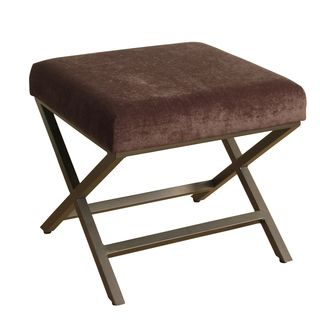 HomePop Upholstered Ottoman with Mink Plush Velvet and Bronze Metal Finish