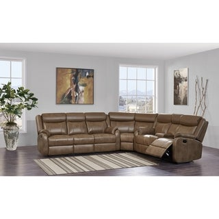 Leather Gel Blanche Walnut Sectional