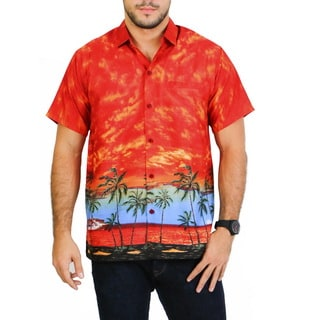 La Leela Men's Orange Likre Cloudy Island View Front Pocket Shirt