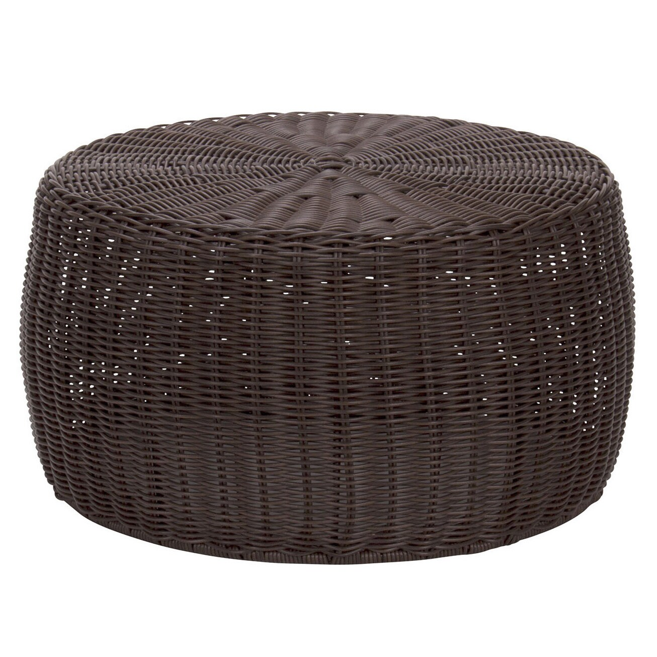 The Curated Nomad Tipton 9 Inch Brown Resin Wicker Ottoman