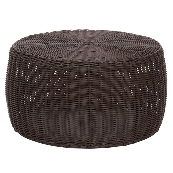 The Curated Nomad Tipton 9-inch Brown Resin Wicker Ottoman
