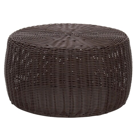 Household Essentials Resin Wicker 9 Inch Tall Ottoman/Low Table, Brown
