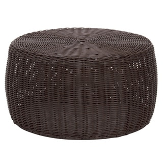 Household Essentials Brown Resin Wicker 9-Inch Ottoman/ Low Table