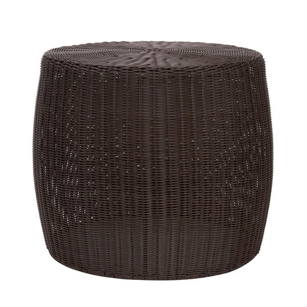 The Curated Nomad Tipton Brown Resin Wicker Side Table. Opens flyout.