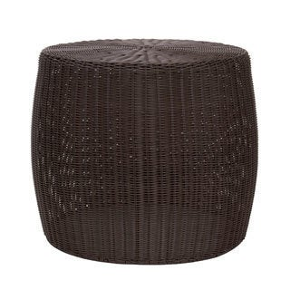 The Curated Nomad Tipton Brown Resin Wicker Side Table