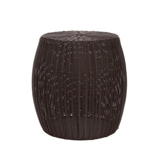 Household Essentials Resin Wicker Barrel Table, Brown