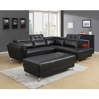 2-piece Black Adjustable Sectional