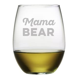 Mama Bear Stemless Wine Glasses (Set of 4)