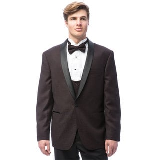 Caravelli Men's Burgundy Satin Tuxedo with Self Bowtie