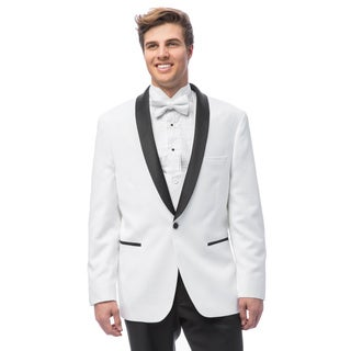 Caravelli Men's White Satin Shall Lapel Tuxedo with Self Bowtie