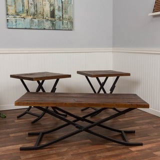 Somette Reclaimed Natural Foldable 3-piece Occasional Table Set