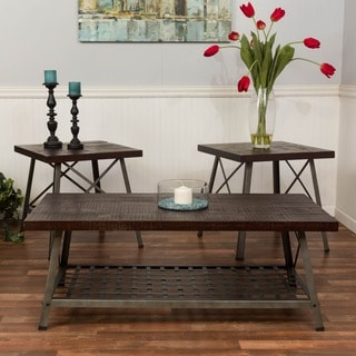Somette Reclaimed Merlot Knockdown 3-piece Occasional Table Set