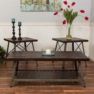 Somette Reclaimed Merlot Knockdown 3-piece Occasional Table Set