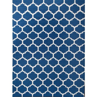 ABC Accents Moroccan Trellis Frontier Blue Wool Rug (5' x 8')