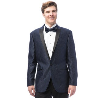 Caravelli Men's Black Satin Peak Lapel Tuxedo with Self Bowtie